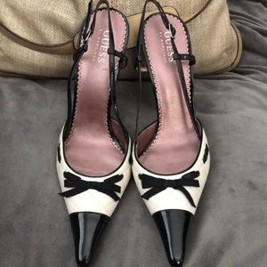 Guess sling back white and black heels size 8